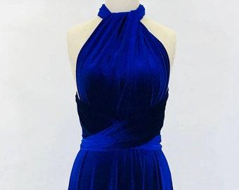 Royal blue velvet dress, multiway dress, infinity dress, bridesmaid dress, prom dress,  evening dress, convertible dress, party dress