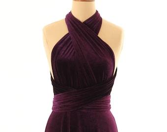 Purple velvet dress, infinity dress, bridesmaid dress, prom dress, ball gown, long dress, evening dress, convertible dress, party dress
