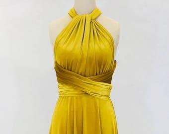 Mustard yellow velvet dress, multiway dress, infinity dress, bridesmaid dress, prom dress, long dress, evening dress, convertible dress
