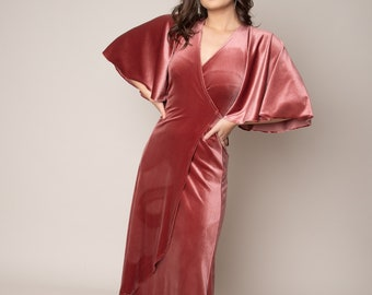 Wrap over vintage rose maxi velvet bridesmaids dress with flared sleeves