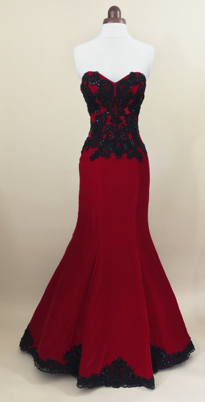 Red ball gown prom dress evening gown party dress long image 0