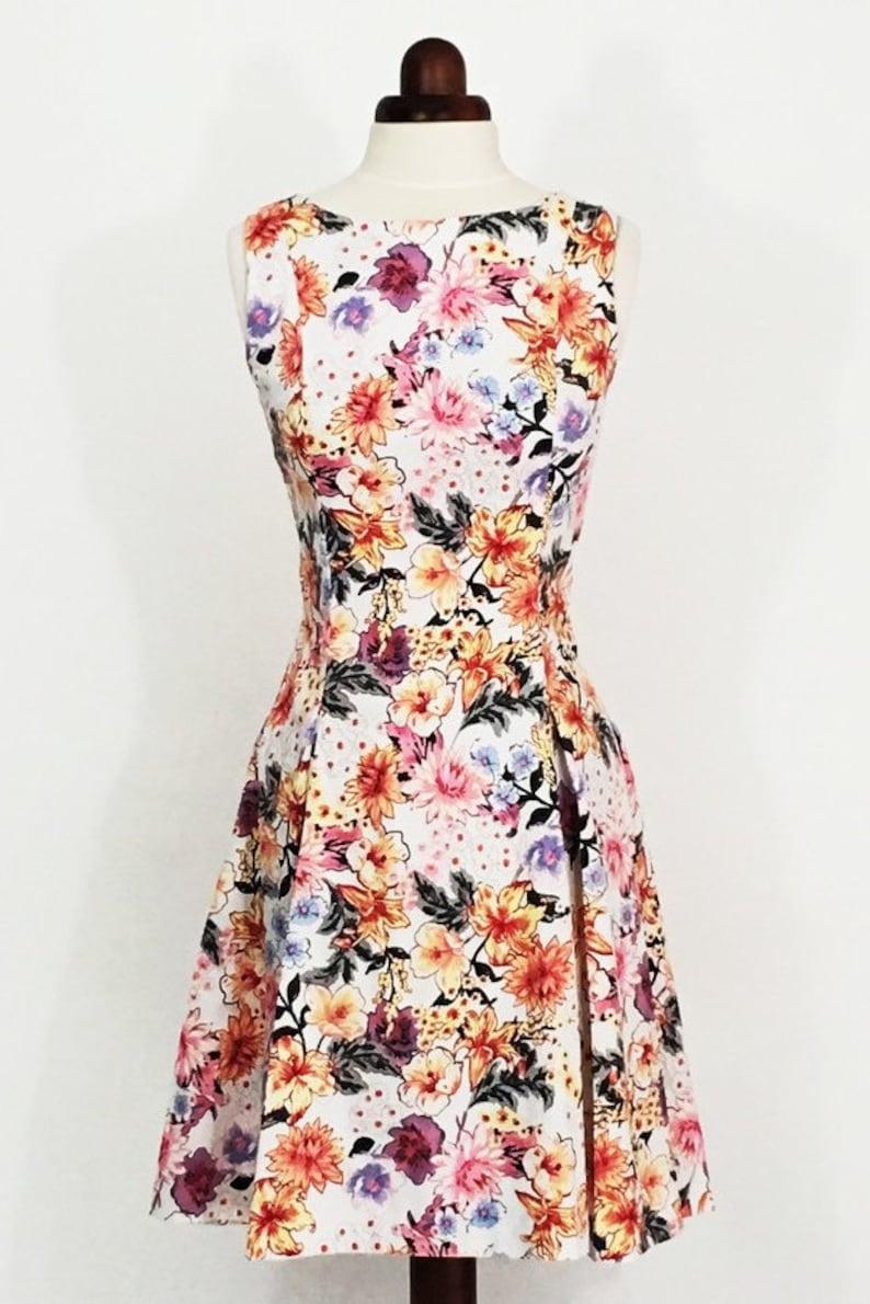 ebb1536b5b8 Ditsy floral dress fit and flare dress tropical print dress