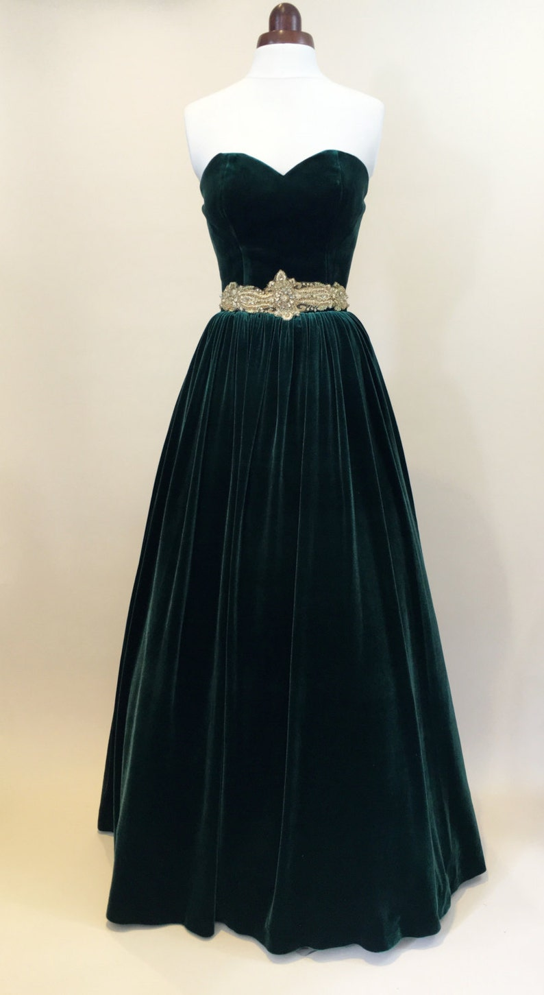Green prom dress ball gown evening gown party dress long image 0