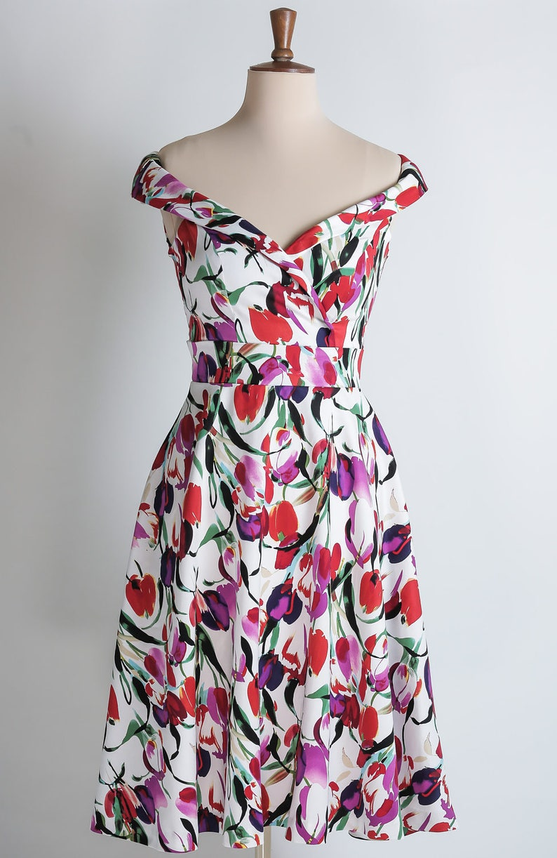 Tulip summer dress floral dress red purple and fuchsia image 0