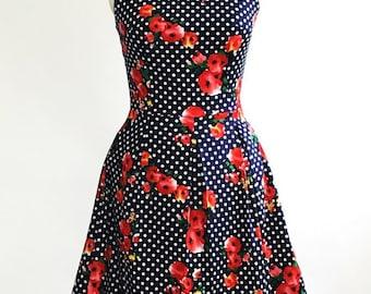 Floral polka dot dress, 1950s dress, red floral dress, summer dress, sundress, wedding guest dress, vintage style dress, 50s dress