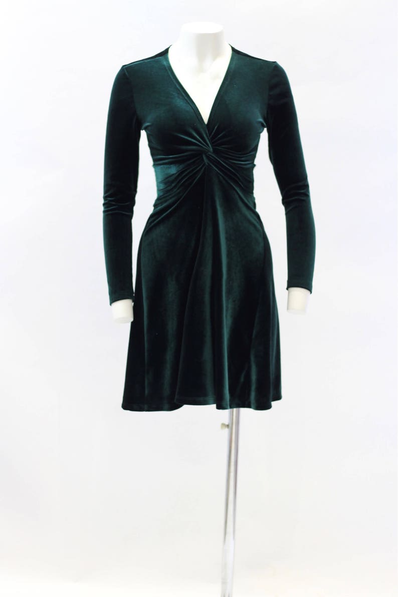 Green dress velvet dress christmas dress cocktail dress image 0