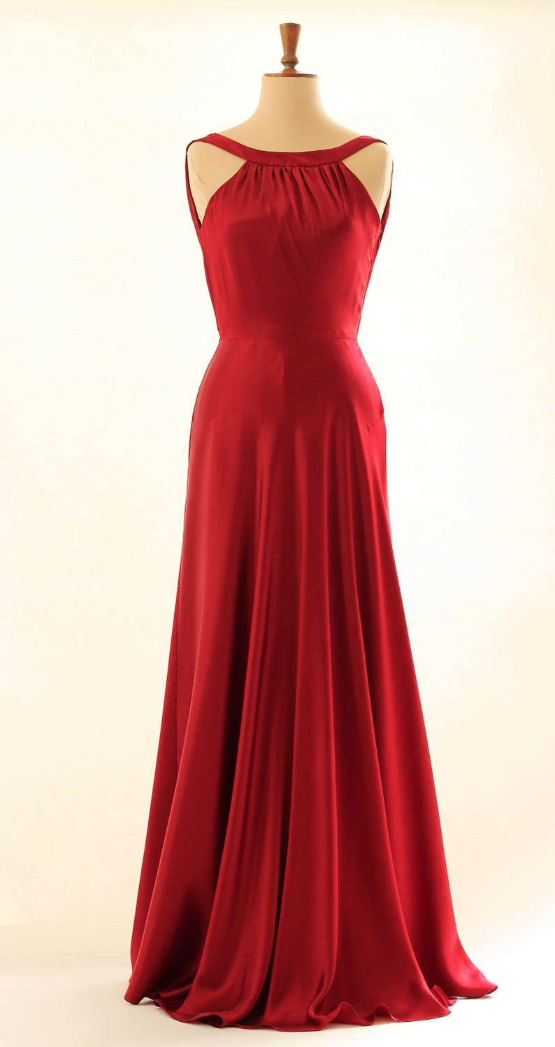 Red prom dress ball gown evening gown long dress silk image 0