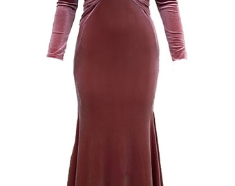 Cocktail dress, rose velvet dress, midi dress, evening dress, party dress, mermaid dress, bridesmaid dress, occasion dress, wedding dress