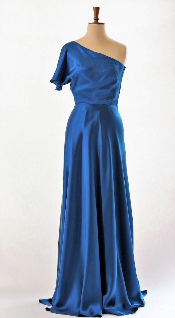 Blaue Seide Kleid Ballkleid Kleid Abendkleid Laufsteg