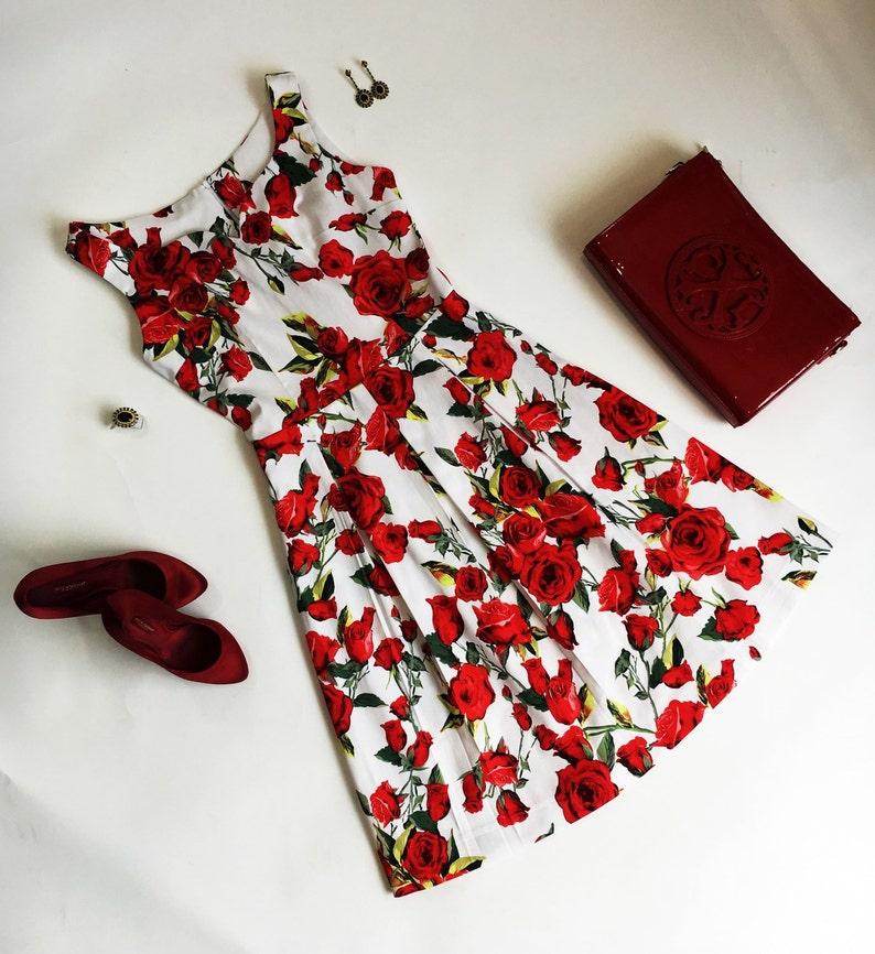 9c7fc8dc35 Summer dress floral dress red rose dress sundress wedding