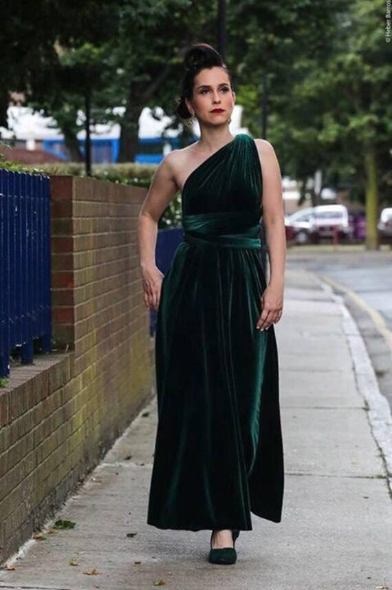 Green velvet dress, infinity dress, bridesmaid dress, prom dress, ball gown, long dress, multiway dress, convertible dress, party dress
