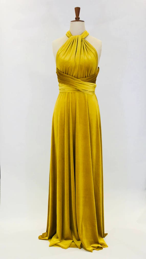 Mustard Yellow Velvet Dress Multiway Dress Infinity Dress Etsy