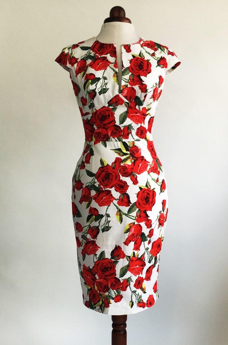 49b3cce2decf Red rose dress floral dress summer dress vintage style | Etsy
