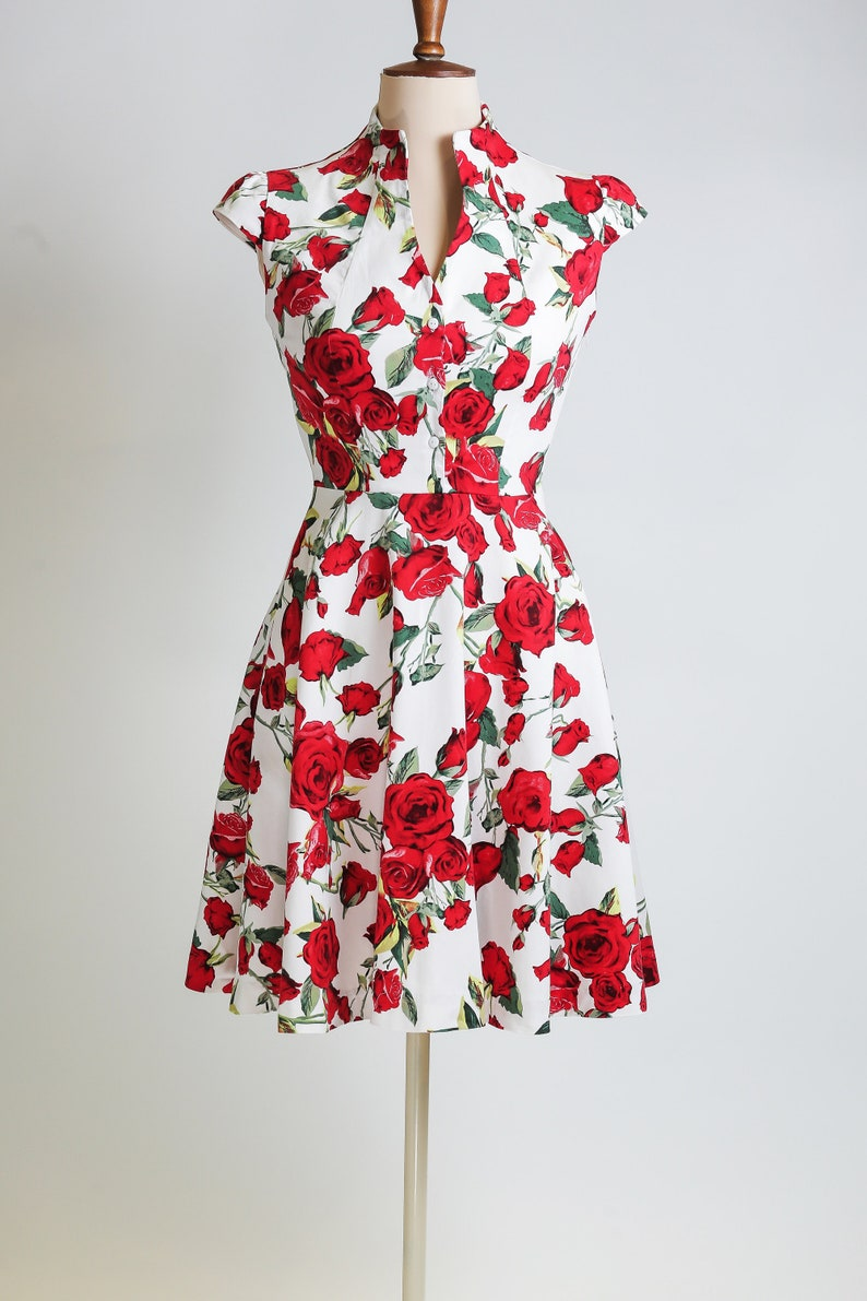 50468be8189 Summer dress floral dress vintage style dress red and white