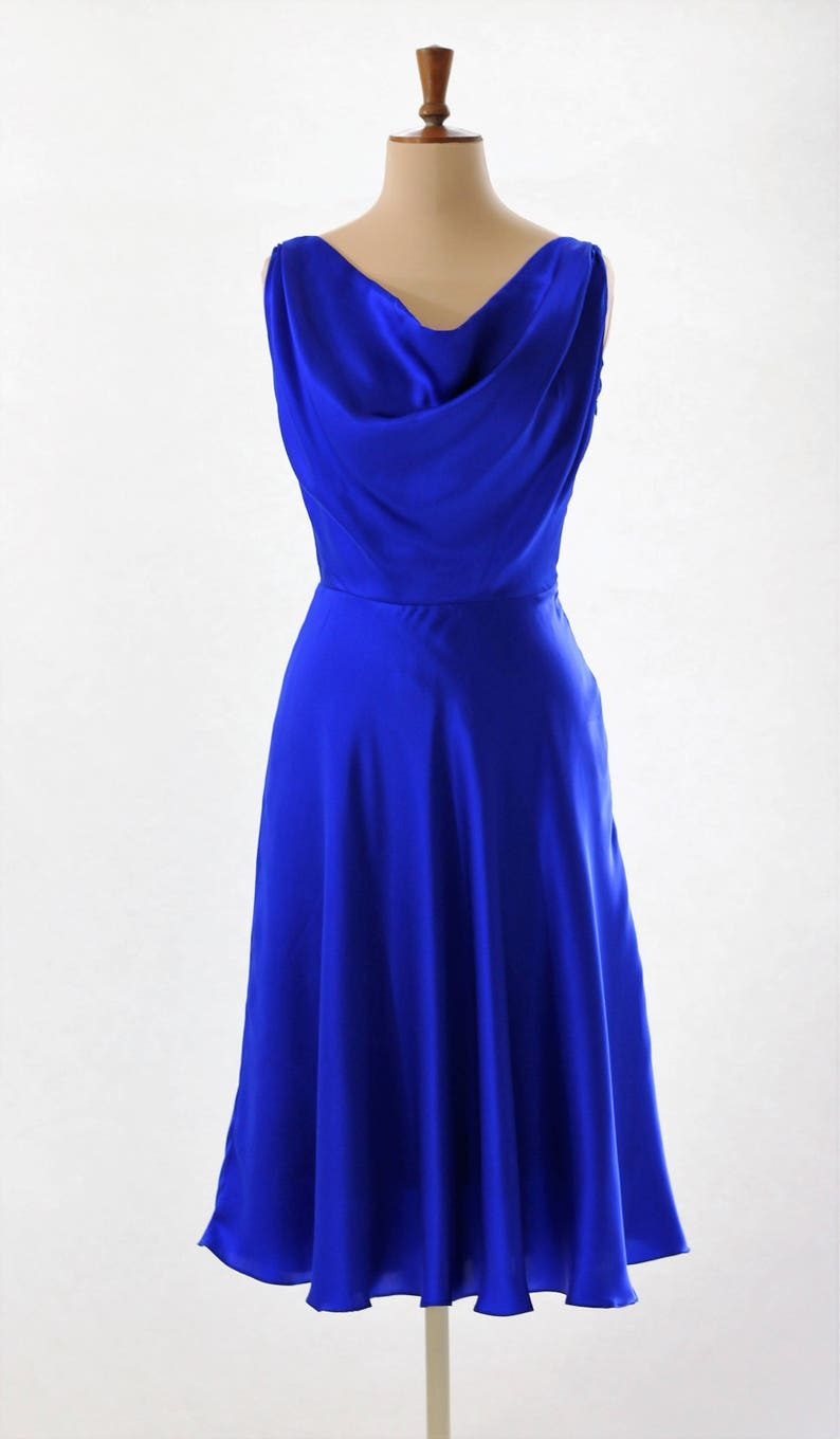 Electric blue silk dress cocktail dress prom dress midi image 0