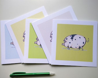 5 Blank Greeting Card Set, Pig Wig Design with Free Postage!