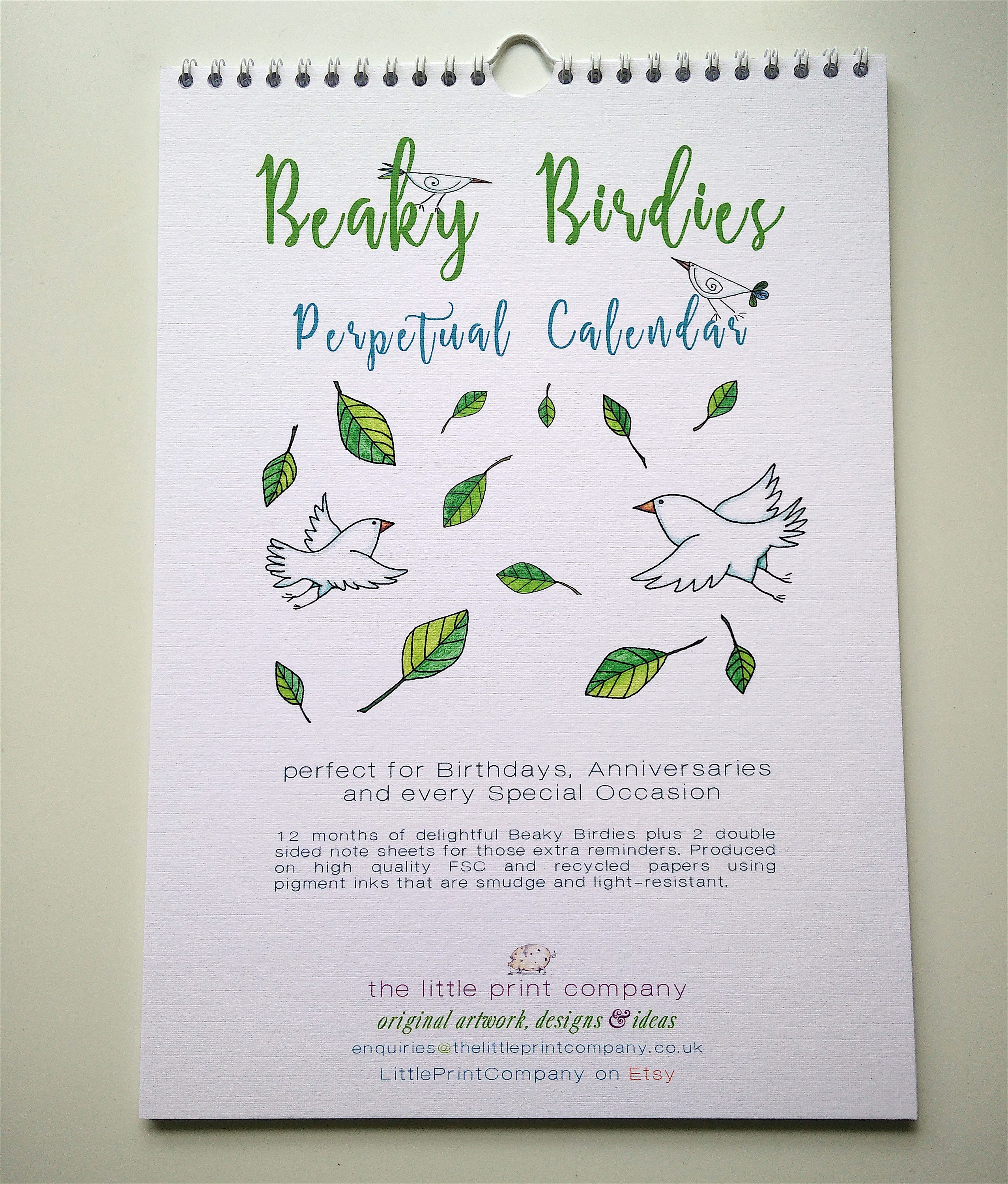 A4 perpetual calendar for birthdays and anniversaries beaky etsy zoom izmirmasajfo