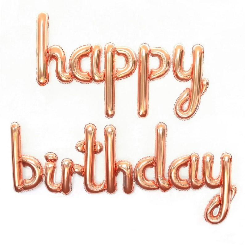 Happy Birthday Balloon Banner Rose Gold