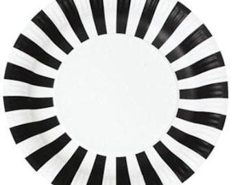 Plates   Black Plates   Paper Plates   Party Plates   Black & White Plates   Black and White Stripe Paper Plates   12 Per Pack