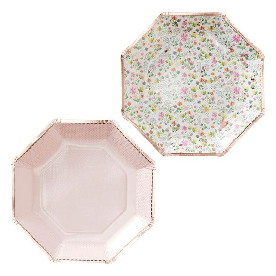 + $6.78 shipping  sc 1 st  Etsy Studio & Paper Plates | Rose Gold Decorations | Floral Plates | Party Plates ...