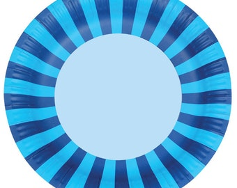 Paper Plates   Party Plates   Blue Paper Plates   Blue Stripe Party Plates   Blue Party Plates   Blue Paper Plates   12 Per Pack