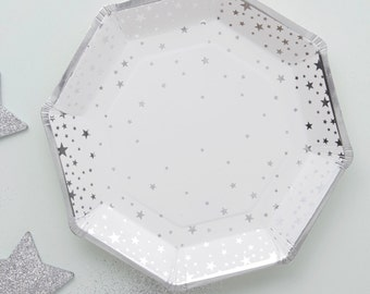 Paper Plates   Silver Star Plates   Party Plates   Silver Star on White   8 Plates Per Pack   Baby Shower Plates