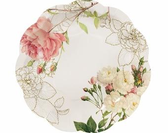 Paper Plates   Wedding Plates   Pretty Floral Plates   Party Plates   Afternoon Tea Plates   Baby Shower   12 Plates per Pack  sc 1 st  Etsy Studio & 8x Floral paper plates boho decor meri meri garden party floral ...