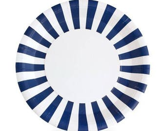 Paper Plates   Navy Plates   Baby Shower Plates   Navy & White Stripe Plates   Nautical Party   Navy Party Plates   12 Per Pack