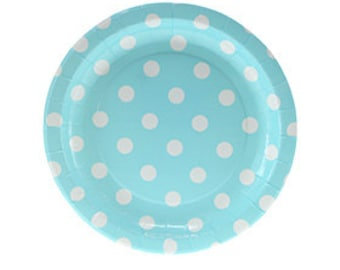 Plates   Cake Plates   Paper Plates   Blue with White Dots Plates   Blue and White Party Plates   Polka Dot Plates   12 per pack