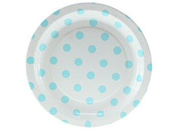 Paper Plates   Cake Plates   White with Blue Polka Dot Plates   White and Blue Party Plates   Blue Dot Plates   12 per pack