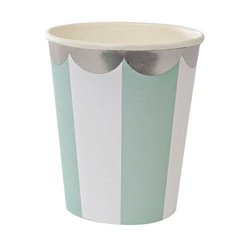 Silver Foil Scallop 8 Per Pack Mint Baby Shower Cups Mint Cups Paper Cups Mint and White Striped Cups Stripe Party Cups