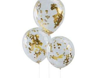 Confetti Balloons | Balloons | Gold Confetti Balloons | Gold Foil Confetti Balloons | Confetti Balloon Kit | 5 Per Pack