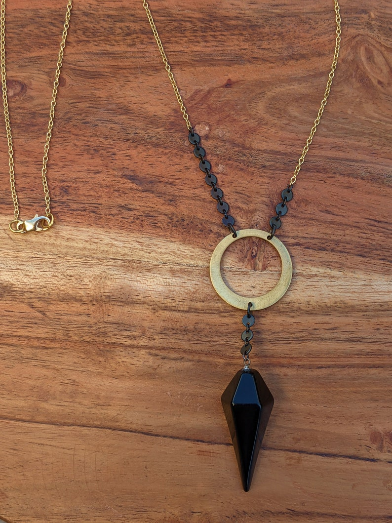 Unique Necklace Gifts for Her Mixed Metals Jewelry Long Boho Necklaces Obsidian Pendulum Necklace Long Layering Necklace