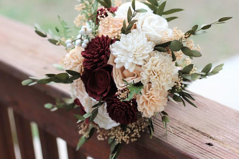 Marsala/Burgundy & Peach Sola Bouquet Wedding Bouquet Bridal image 0