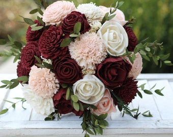 Marsala Blush Pink Sola Bouquet, wedding bouquet, bridal bouquet, Marsala blush bouquet, maroon blush pink bouquet, sola flowers