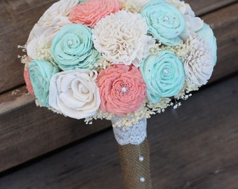 Coral and Mint Bouquet, Sola Bouquet, Wedding Bouquet, wedding flowers, wedding decorations, Bridal Bouquet, Rustic Country Wedding