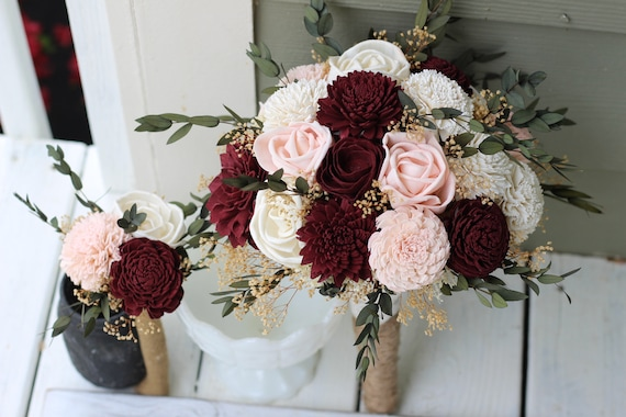 budget wedding bouquets burgundy blush pink ivory sola etsy