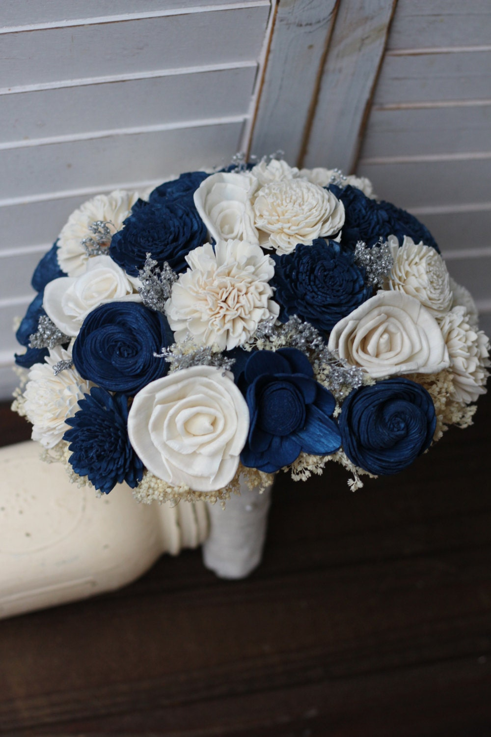 Navy Blue And Ivory Wedding Bouquet Sola Bouquet Wedding Etsy