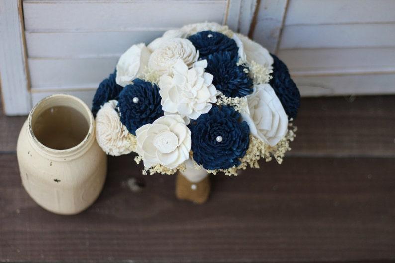 navy blue wedding bouquet sola bouquet rustic wedding country wedding wedding bouquet bridal bouquet