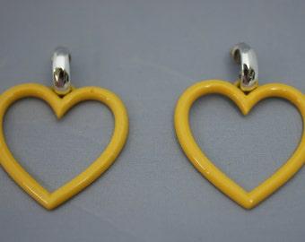Yellow Metal Heart Open Center Pierced Earrings