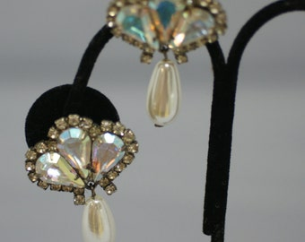 Faux Pearl and Rhinestone Clip Earrings