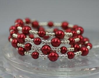 Cranberry/Silver Bead Wire Coil Bracelet