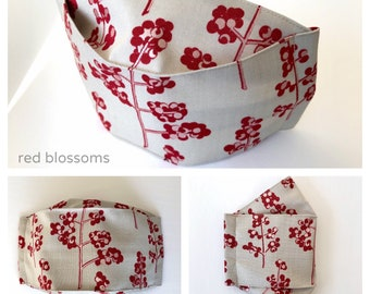 3D Origami Face Mask | Reusable Cotton Face Mask with insert for filter | Fabric Face Mask | Blossom Face Mask