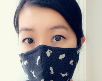 Reusable Cotton Face Mask with insert for filter | Contour Face Mask | Fabric Face Mask | Washable Fabric Mask | Japanese Face Mask