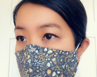 Reusable Cotton Face Mask with insert for filter | Contour Face Mask | Fabric Face Mask | Washable Fabric Mask | Floral and Woodlands Print