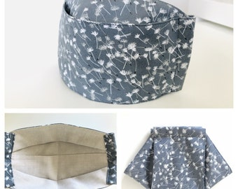 3D Origami Face Mask | Reusable Cotton Face Mask with insert for filter | Fabric Face Mask | Gray Dandelion Seeds