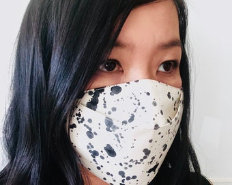 3D Origami Face Mask | Reusable Cotton Face Mask with insert for filter | Fabric Face Mask | Ink Splatter Pattern