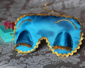 Holly Golightly eye sleep mask with crystal eyes - Breakfast at Tiffany's sleep mask Audrey Hepburn eye pillow with eyelashes PJ party favor