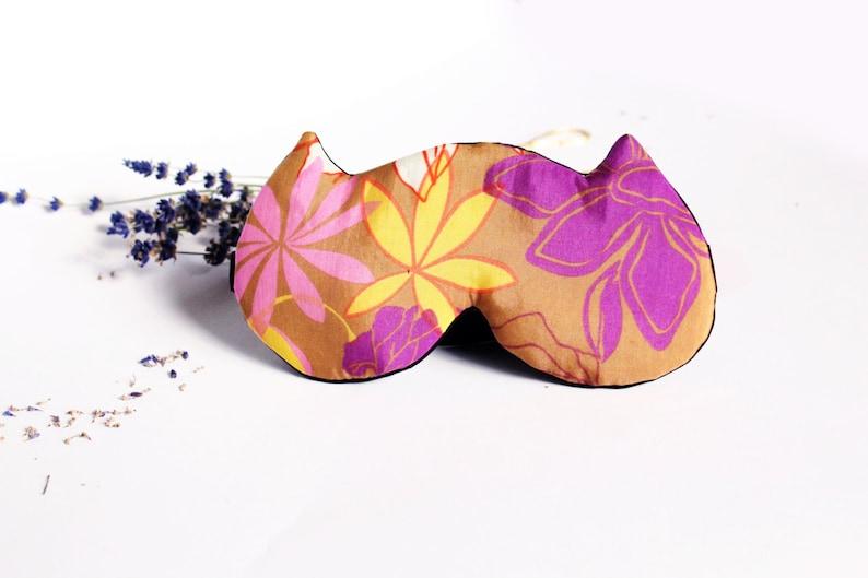 Luxury Silk eye sleep mask Organic Soft eye pillow Pure Silk night mask PJ and SPA Party favor - Floral cat sleeping mask
