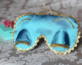 Holly Golightly eye sleep mask - Satin Breakfast at Tiffany's sleep mask - Audrey Hepburn eye pillow with eyelashes - PJ party favor